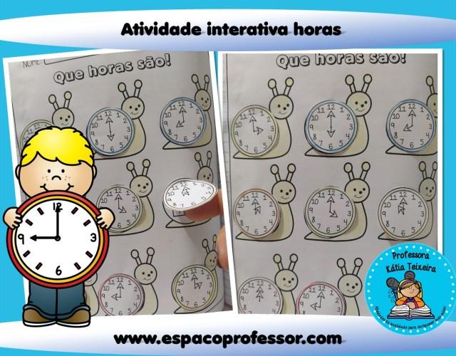 Atividade para ensinar as horas - Atividade interativa