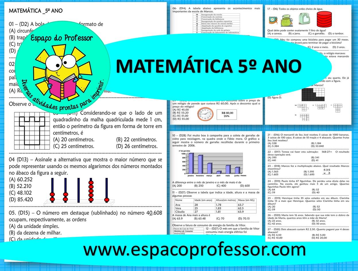 30 Questoes De Matematica 5º Ano Prontinhas Para Imprimir