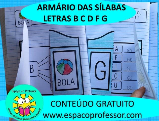 Atividades de alfabetização: armário das sílabas B ao G.