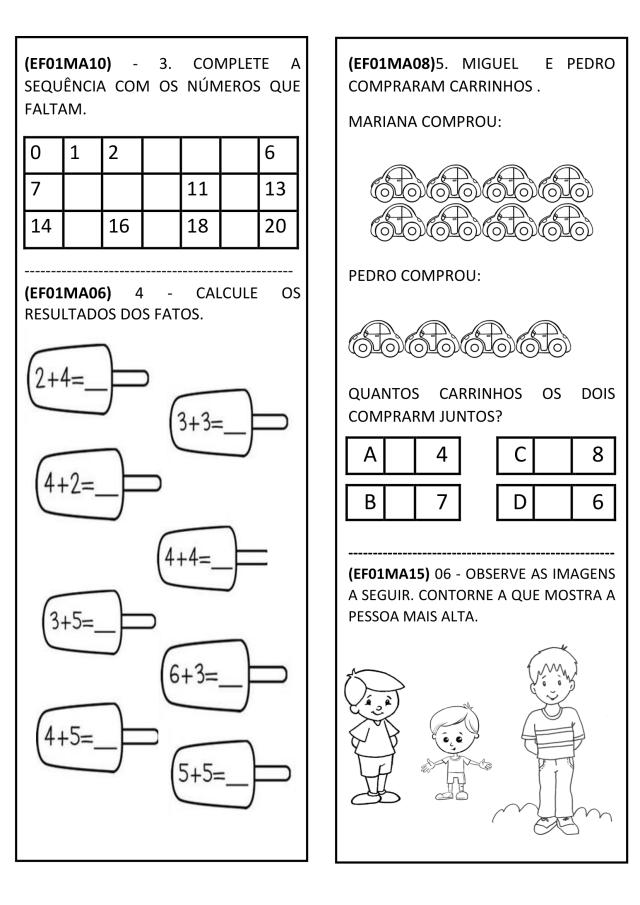 Avaliação de matemática 1º ano com habilidades BNCC