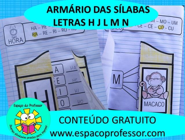 Atividades De Alfabetização: Armário Das Sílabas H Ao N