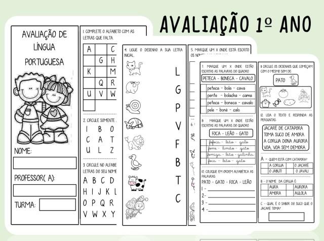 Avaliação de Língua Portuguesa 1º ano