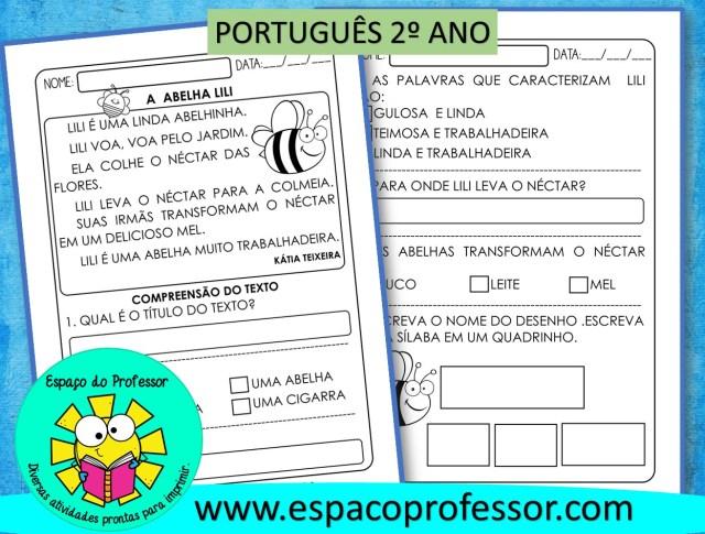 Atividade de português 2º ano - Leitura e compreensão
