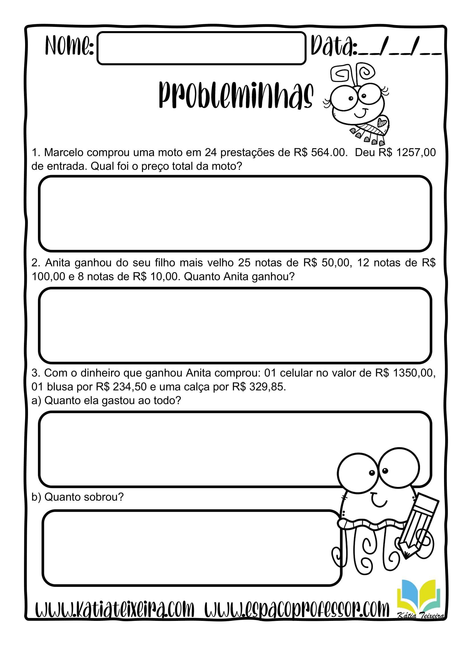 Problemas De Matematica 5º Ano Atividades De Matematica