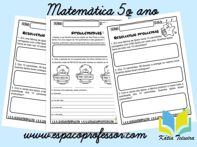 Atividades de matemática 5º ano - problemas e escrita literal