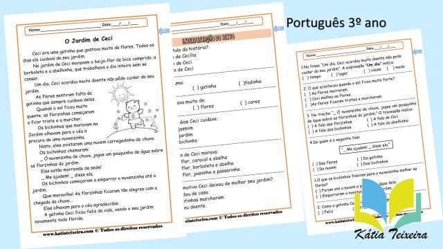 Atividade de português 3º ano: O jardim de Ceci