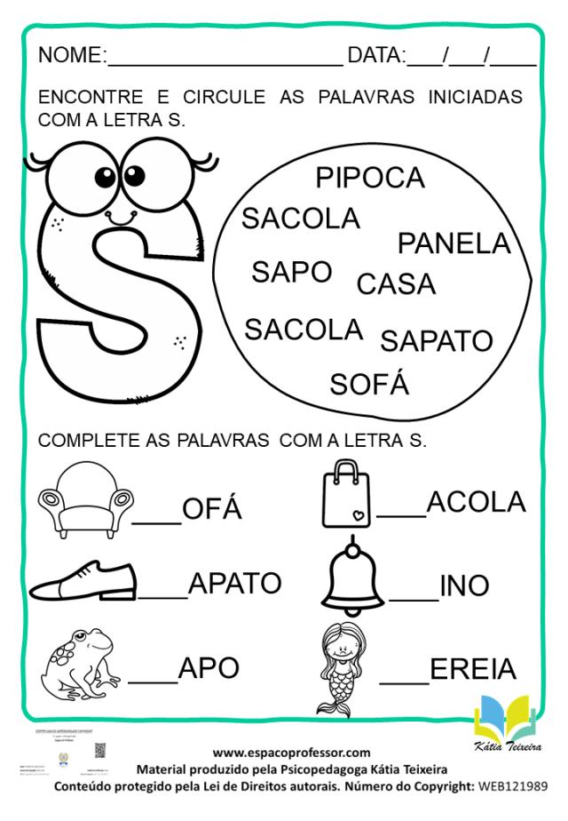 Atividade de português 1º ano: alfabetização letra S