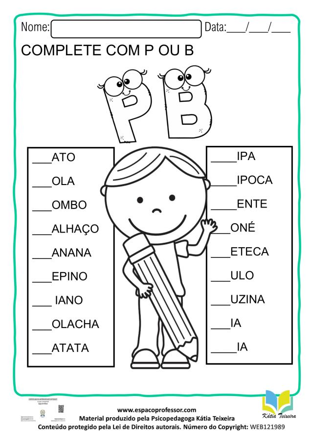 Atividade de ortografia P ou B - atividade de alfabetização