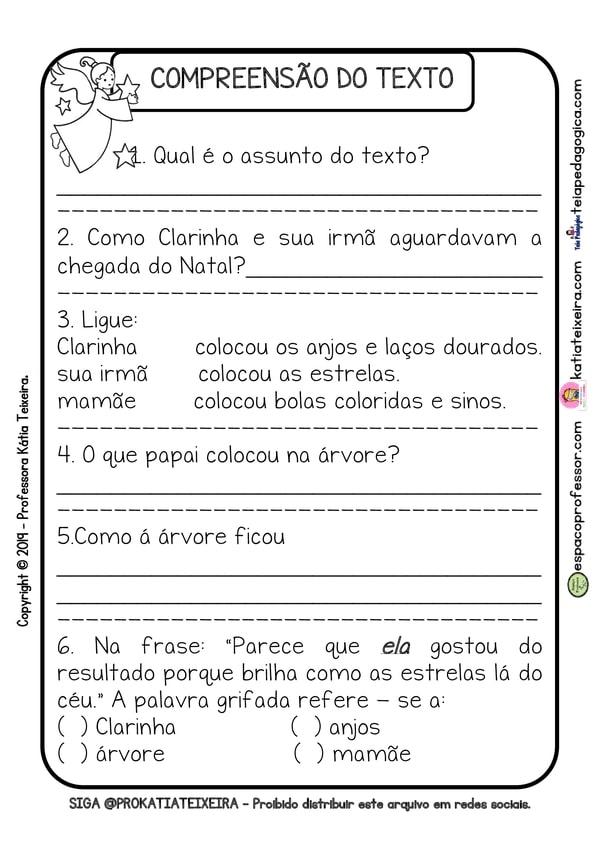 Alfabetização com texto e atividades tema Natal