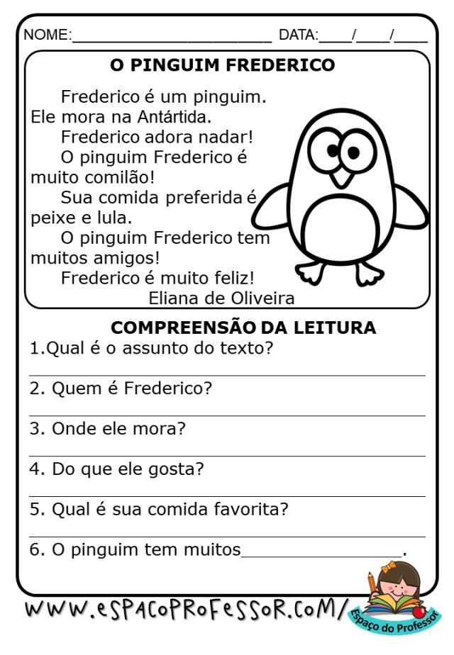 Atividades de alfabetização 2º ano para imprimir texto O Pinguim Frederico