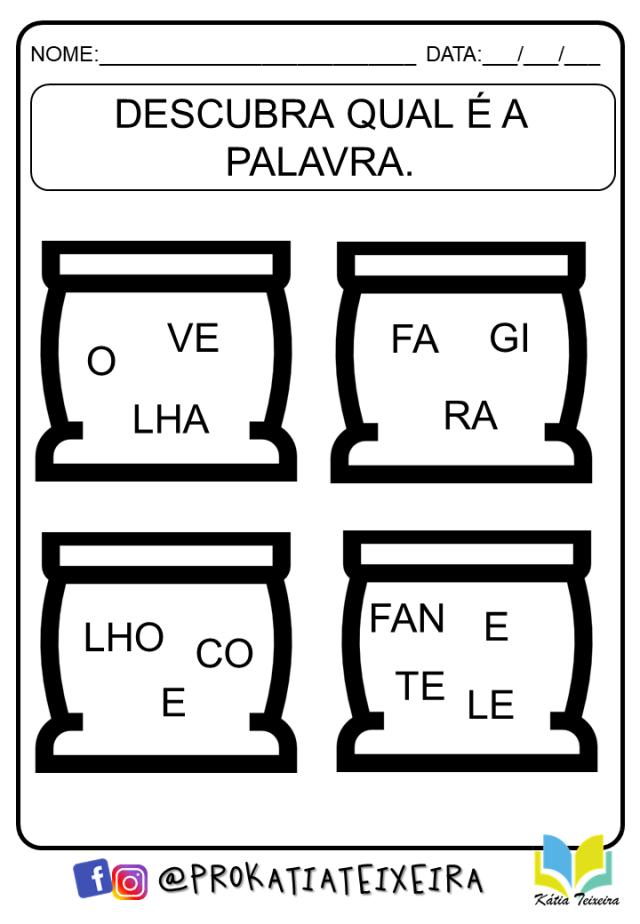 Atividades ordenar sílabas e formar palavras - atividades de alfabetização