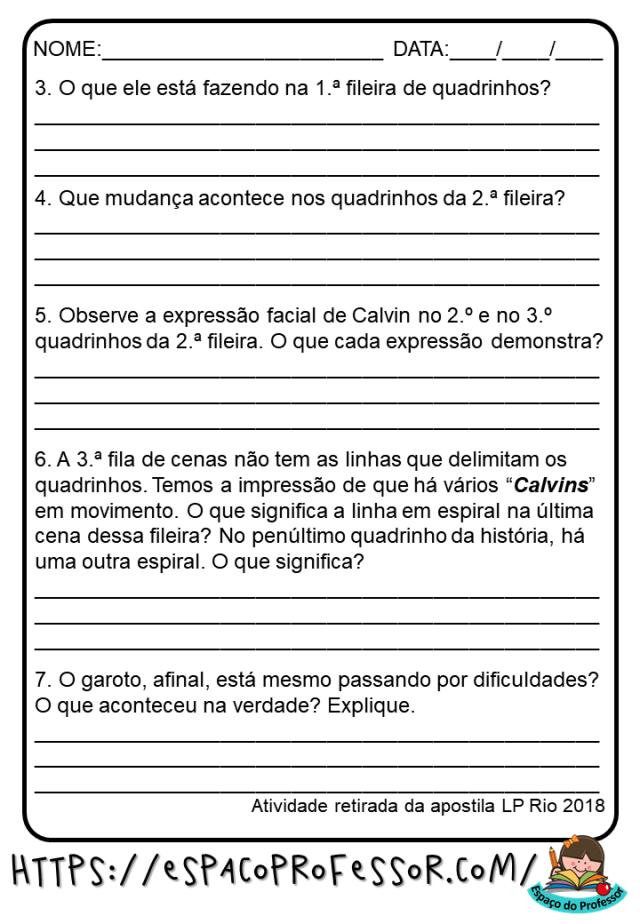 Atividades de português gênero tirinhas 5ºano em PDF