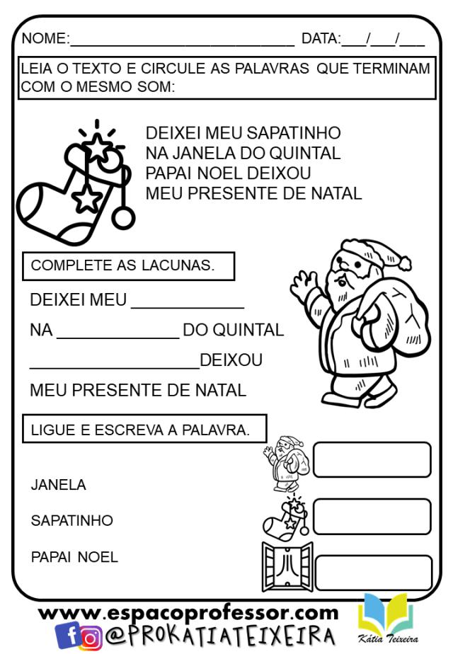 Atividades de natal para imprimir  - atividade de alfabetização