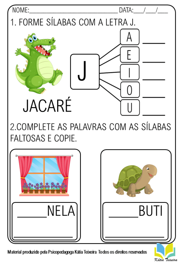 Atividades De Alfabetização Letra J Em PDF pronta para imprimir