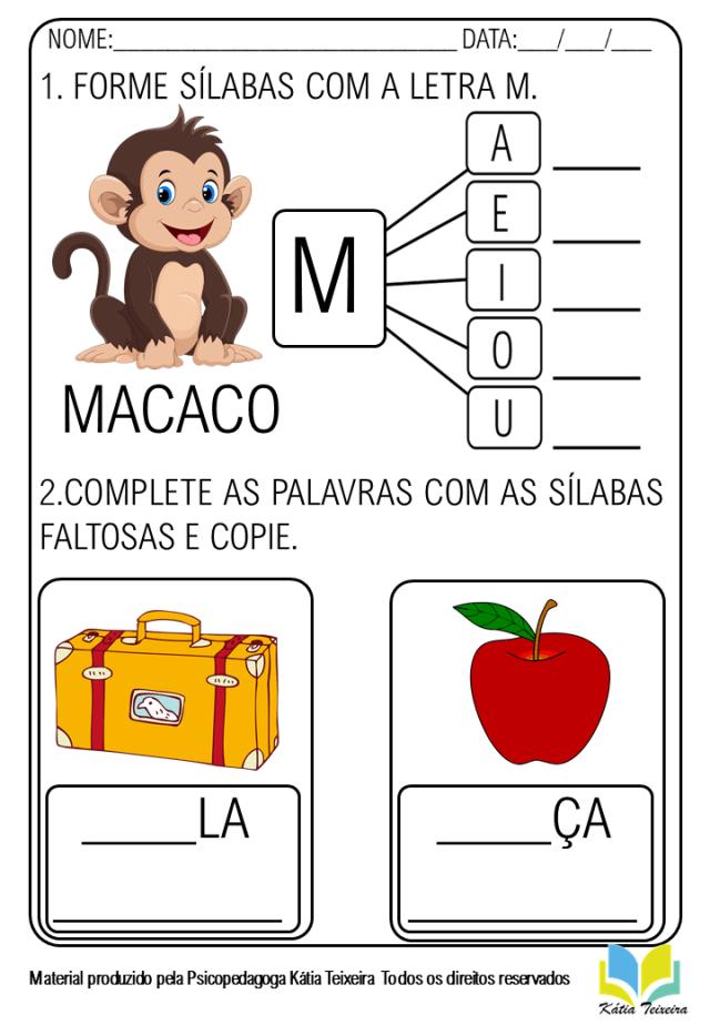 Atividade de alfabetização para imprimir - letra M em PDF