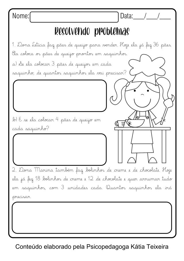 Atividade de matemática 3º ano: Divisão para imprimir