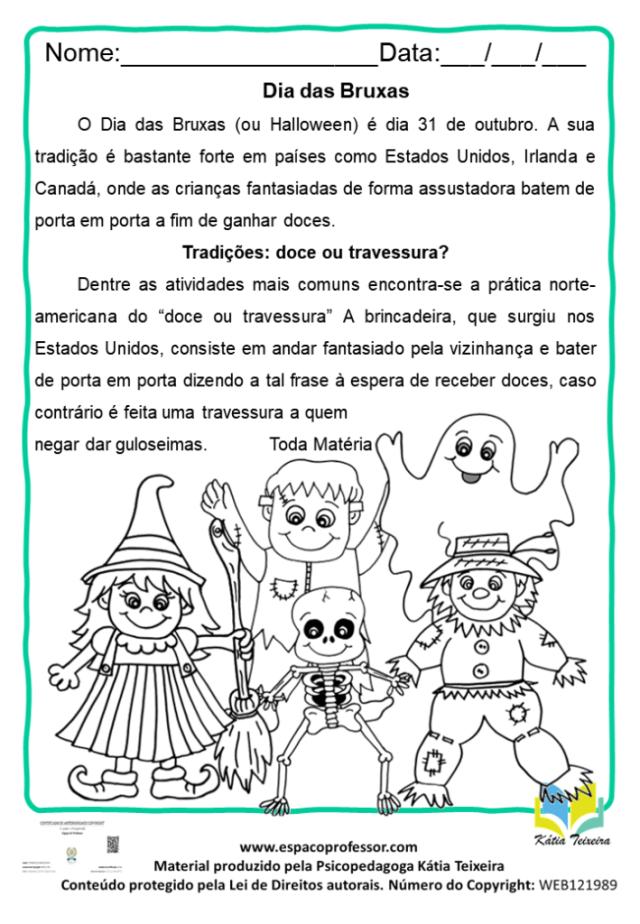Atividade de Português Dia das Bruxas para baixar
