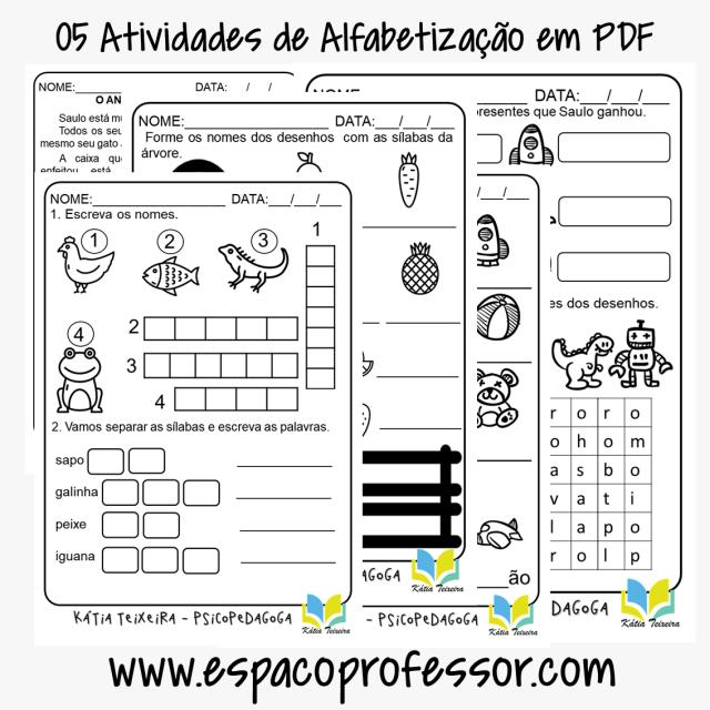 05 Atividades de Alfabetização em PDF para baixar