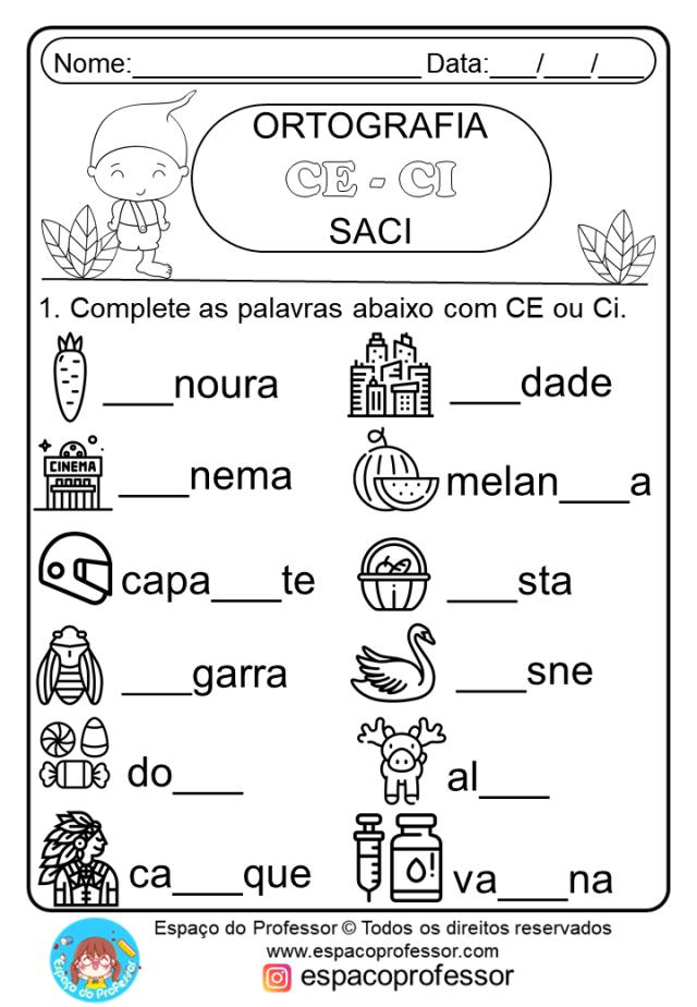 Saci: Cartaz, Leitura E Interpretação, Ortografia