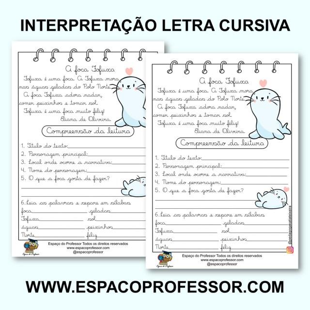 Pequeno texto com atividades letra cursiva