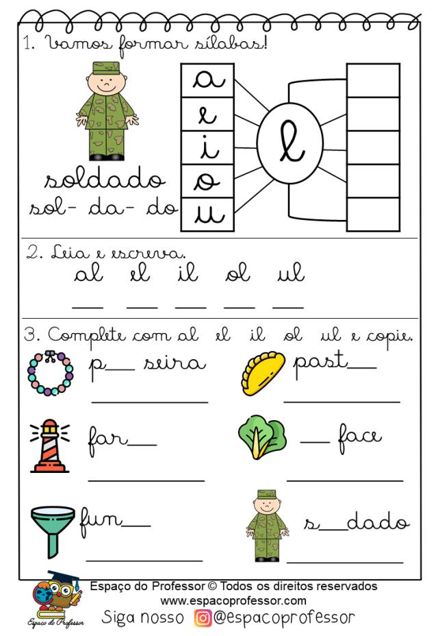 Atividades com sílabas complexas vogal+l