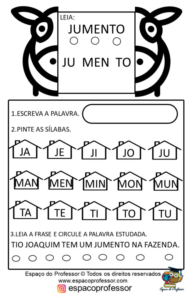 Atividades de Alfabetização. Palavras igreja jumento janela e lago