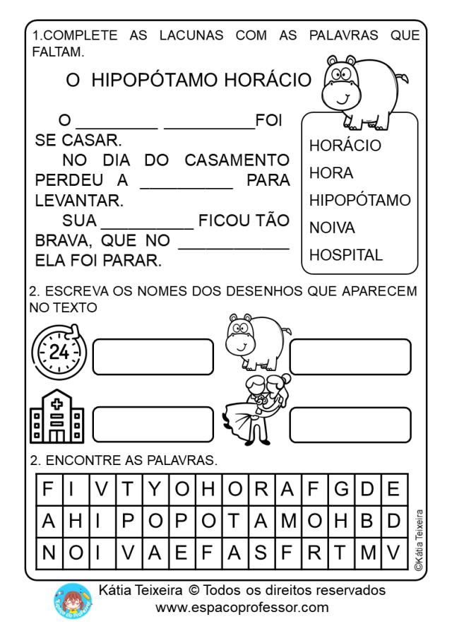 Atividades De Alfabetização Com Pequeno Texto Em PDF Letra H