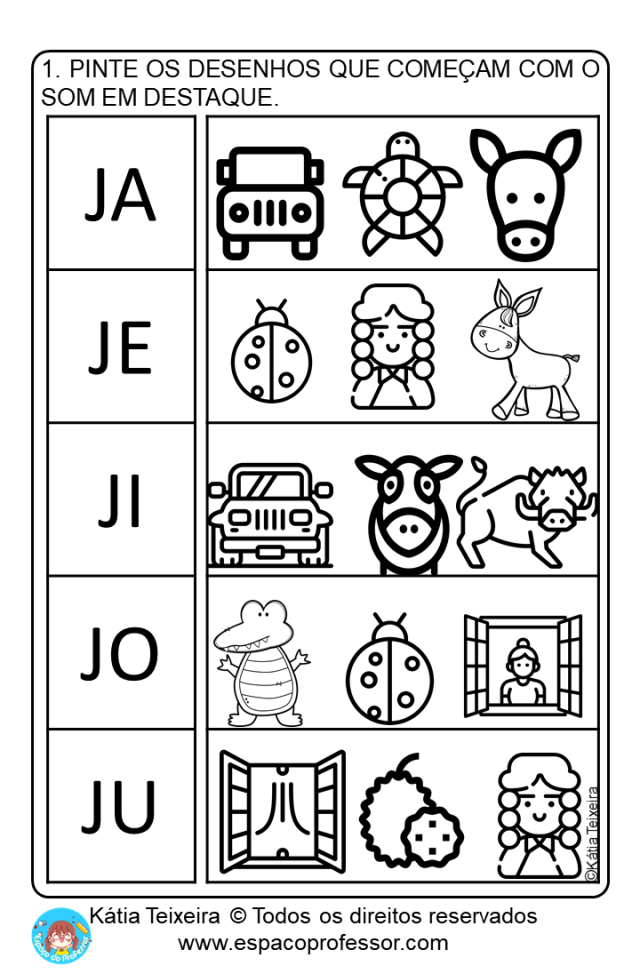 Pequeno texto com atividades Educação Infantil letra J