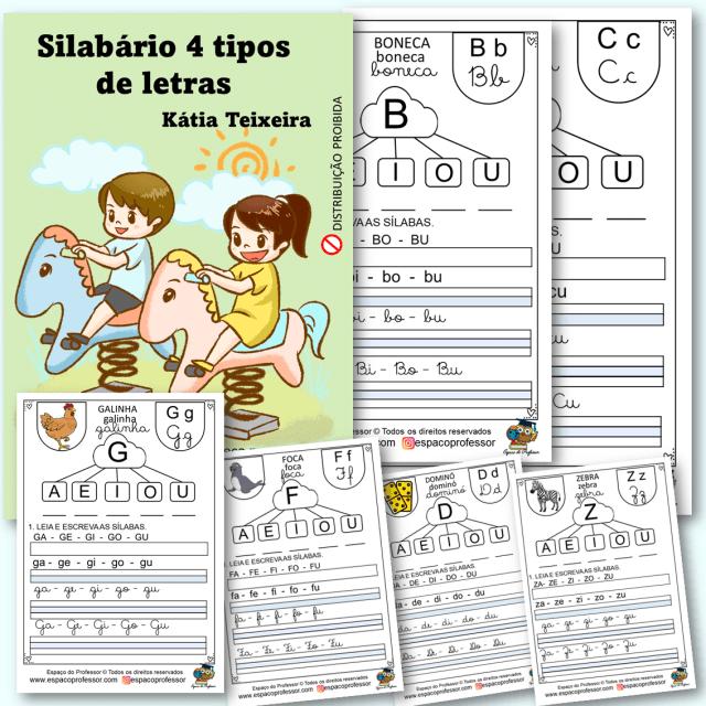 Atividades de alfabetização sílabas para imprimir 4 tipos de letras em PDF