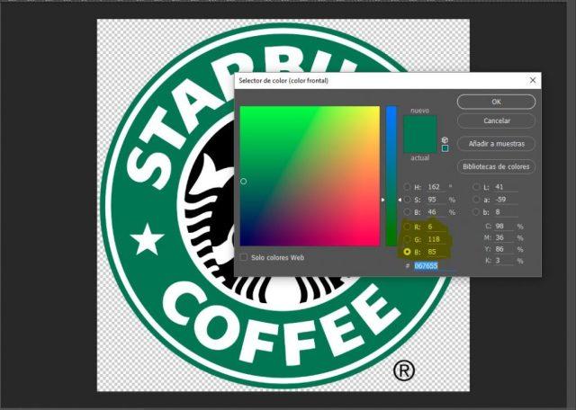 Muestra de colores de photoshop