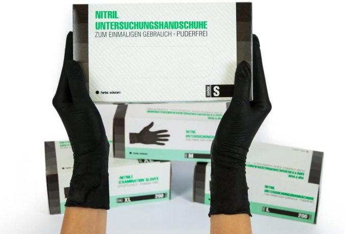 guants quirúrgics SF Medical Products Guants de nitril 200 peces (S, Negre) sense pols guants d'un sol ús, sense làtex