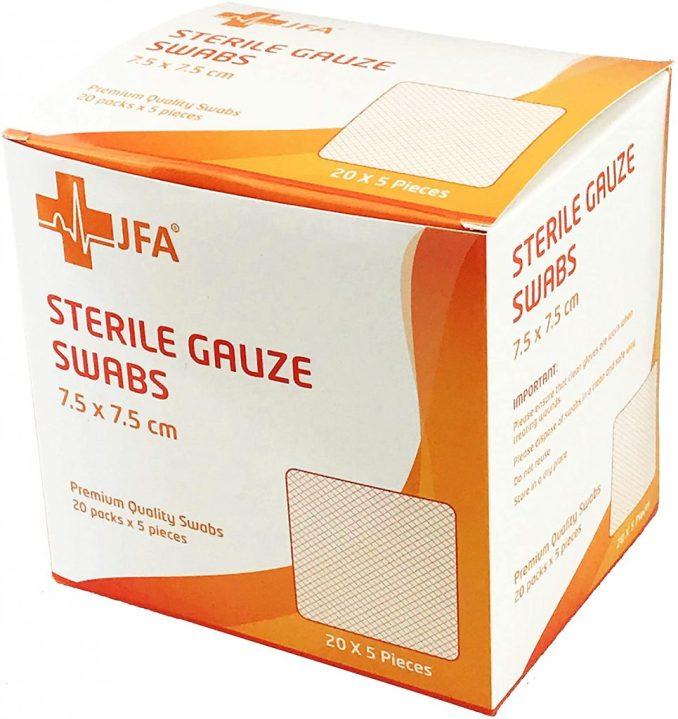 Gases estèrils prèmium de 7,5 x 7,5 cm Paquet de 100 unitats de JFA Medical