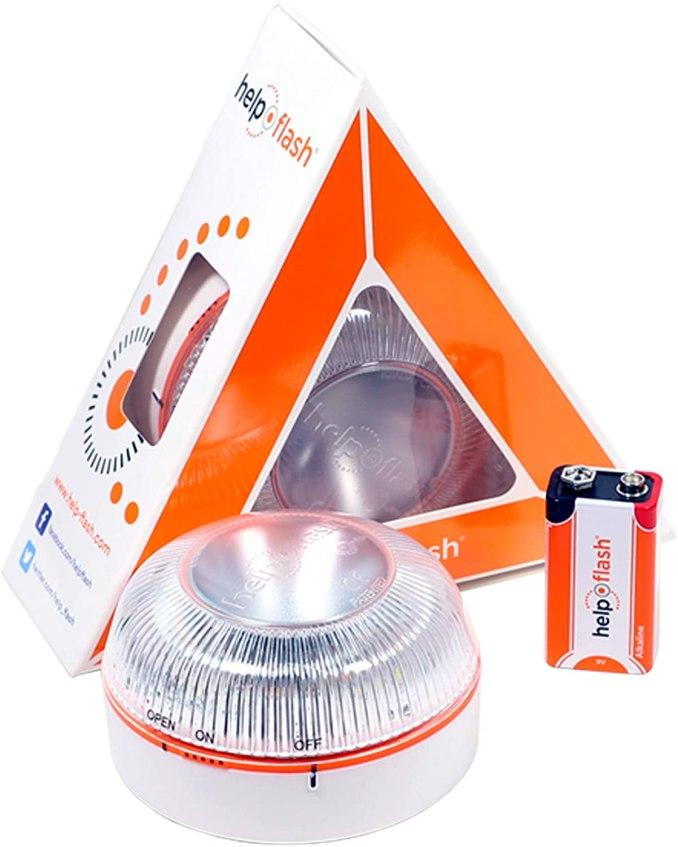 HELP FLASH 1X YR-42WR-PIOM llum d'Emergència AUTÒNOMA, senyal presenyalització de Perill i Llanterna, homologada, normativa DGT, V16, amb base imantada, activació AUTOMÀTICA,