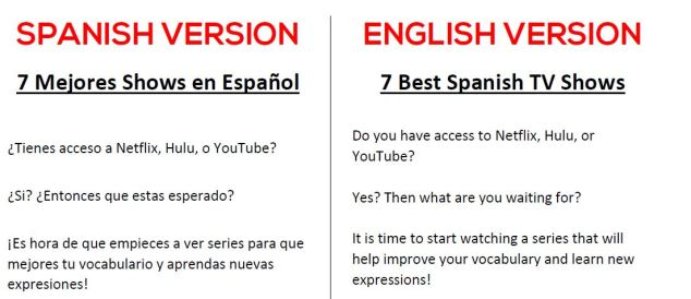 Spanish-English Shows