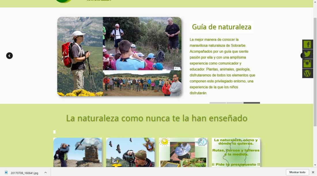 Web de la empresa Esparbel Naturaleza.