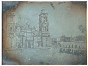 Daguerrotipo Catedral de la ciudad de Mexico y el Parian, por Jean Prelier Dudoille, 21 de enero de 1840
