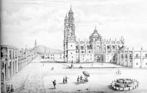 Litografía de la Catedral de Valladolid, principios del siglo XX