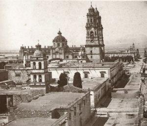 Catedral desde el Sagrario Metropolitano de Santa Catalina, hacia 1868