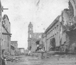 Actual calle de Humboldt, desde cuyo extremo oriente se apreciaba el Templo de la Tercera Orden y el costado sur del Convento de San Francisco