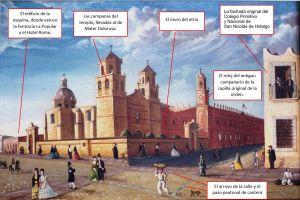 Siete elementos urbanos que desaparecieron y aparecen en la pintura de La Compañía por Mariano de Jesús Torres