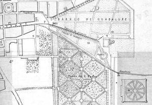 Parte suroriente de la ciudad en el plano de 1883, fragmento.