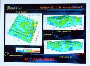 Presentación de resultados de los geofísicos de la UNAM, donde el método galvánico les resultó en una imagen muy parecida en su respectivo tramo a los de la empresa VICO.