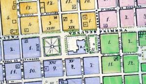 Plano General de la Ciudad de Morelia, formado por M. Bala. 1869. (Fragmento).