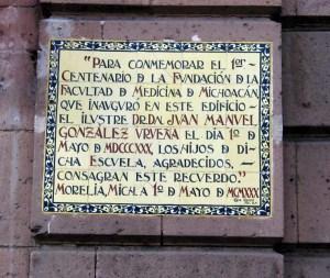 Epigrafía conmemorativa del 1 de mayo de 1830.