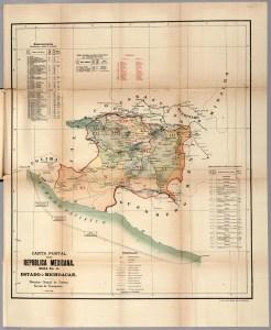 Carta Postal de la República Mexicana, No. 15. Estado de Michoacán. Fuente: Mapoteca Manuel Orozco y Berra.