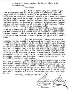 Renuncia del Gral. Porfirio Díaz a la Presidencia de México, 25 de mayo de 1911.