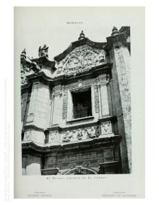 Detalle de la fachada del templo de Santa Rosa de Lima o de Las Rosas. Erróneamente al pie dice iglesia de El Carmen.