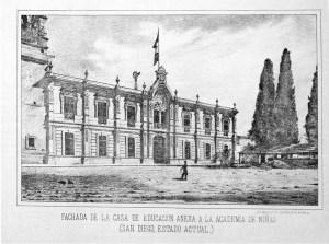 Litografía de la Academia de Señoritas, antes convento de Dieguinos, hoy Facultad de Derecho y Ciencias Sociales