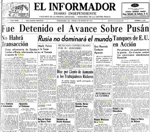 Primera plana de El Informador del 3 de agosto de 1950