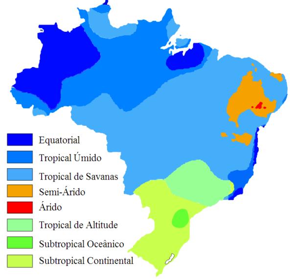 Mapa climático do Brasil